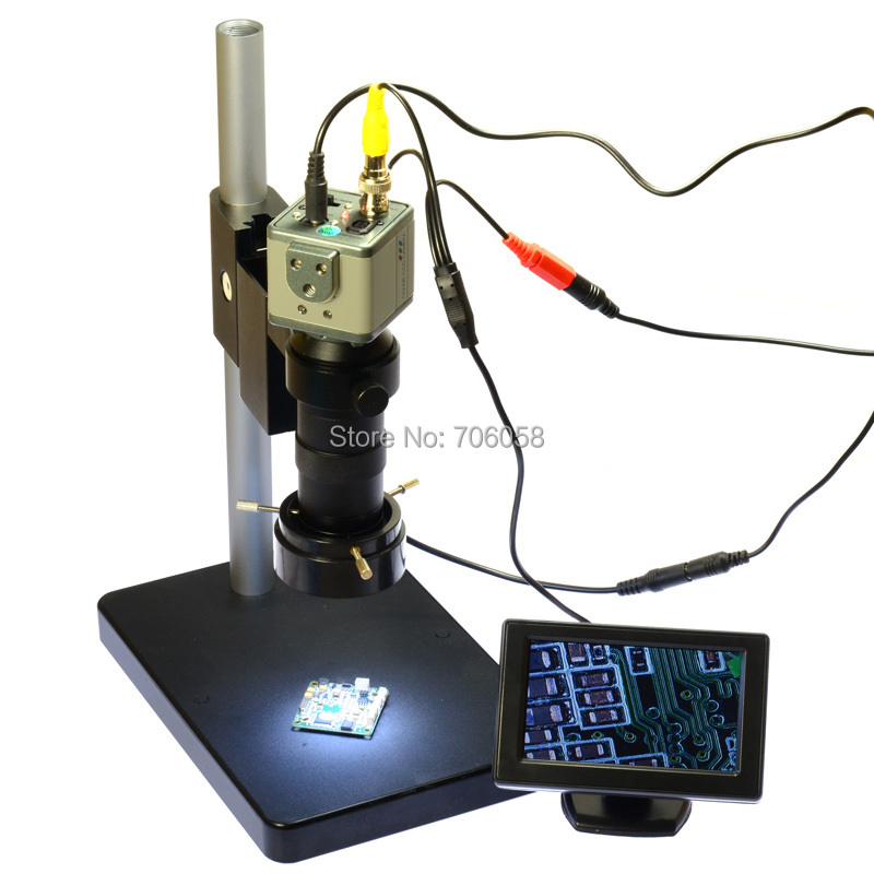 "Гаджет  800TVL 130X Microscope Industrial Camera BNC/AV Output + 4.3"" LCD Monitor + Stand Holder + C-Mount Lens + 40 LED Ring Right None Инструменты"