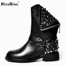 Botas de Cuero Genuinas verdaderas Remache Tacones Cuadrados Otoño Invierno mitad de la Pantorrilla Sexy Martin Botas de Piel de Nieve Zapatos de Mujer de Tamaño 34-39(China (Mainland))
