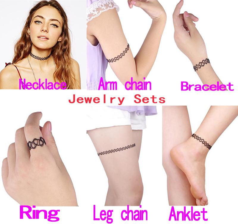 1set Magic Vintage Tattoo Choker Necklace Bracelet Ring Arm Chain Leg
