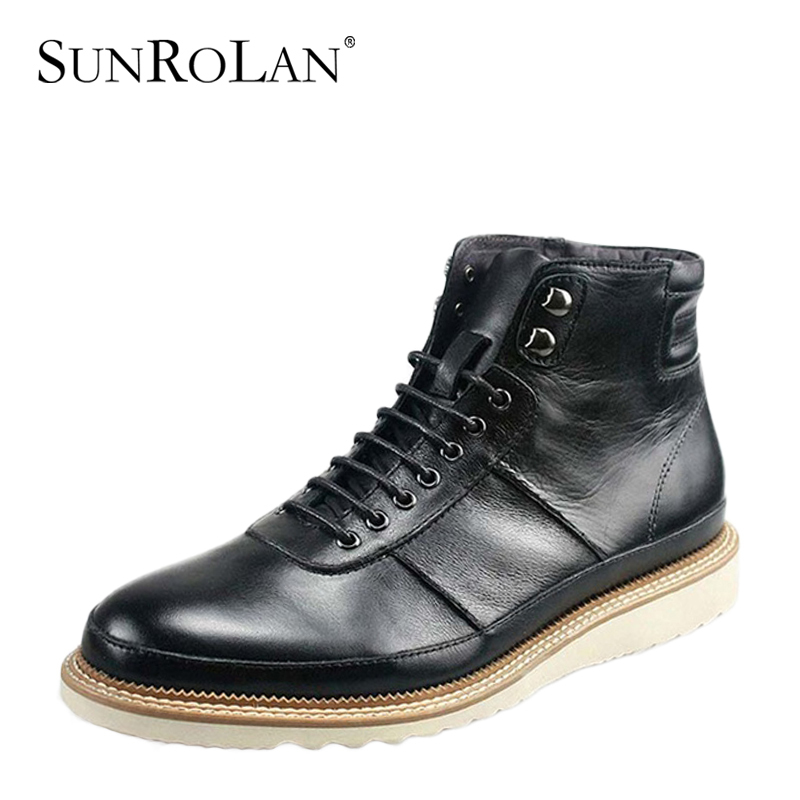 Deal martin fashion boots men's male genuine leather men casual high-top shoes DLYX12131 - SHOES COUNTRY store
