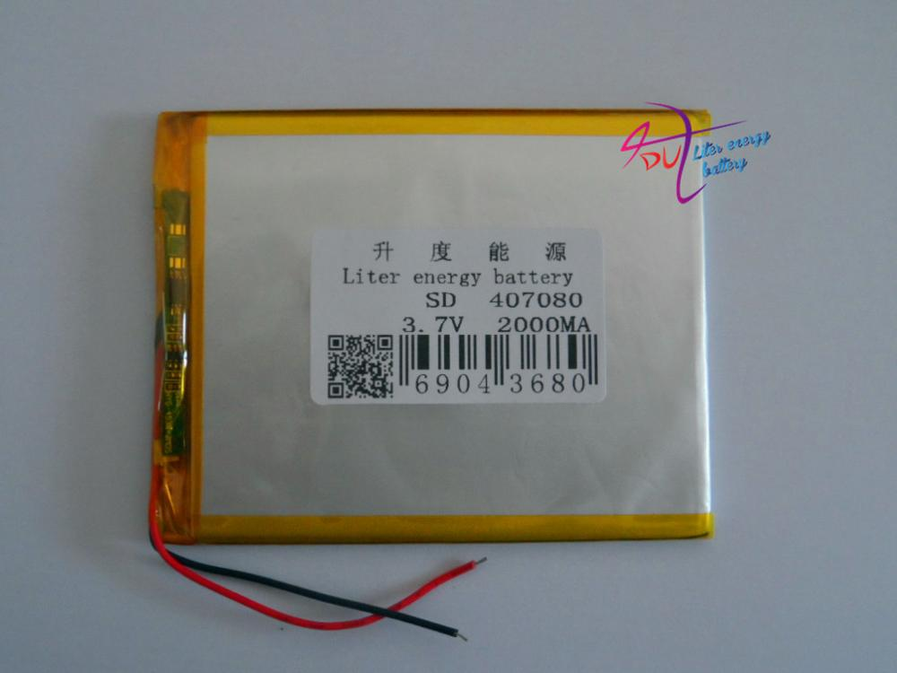 3.7V 2000mAh Polymer Lithium Battery LiPo For GPS Tablet PC 407080