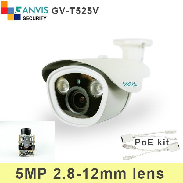 5mp super HD IP camera 1/2.5 sensor 4X adjustable lens with PoE cable ONVIF P2P Network cctv surveillance camera GANVIS GV-T525V(Hong Kong)
