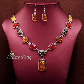Free shipping Women's Vintage Retro 18k Gold Plated Amber African Jewelry Sets Necklace + Earrings Wedding sets