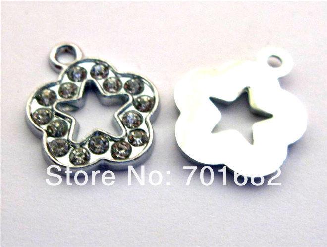 Wholesale price list 100pcs 15x15mm Plum Blossom Rhinestone Hang Pendant Charms Fit Pet Collar Bracelet Cell Phone Charms(China (Mainland))