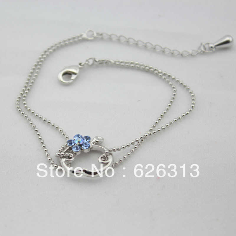 18KRGP Blue Cristal Flower Apple Outline Charm Two String Metal Bead Chain Women Bracelet Fashion Jewelry Wholesale 2013 Summer(China (Mainland))
