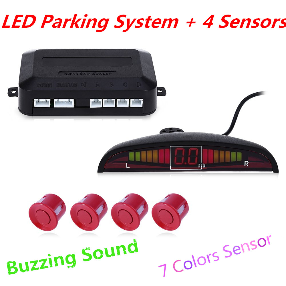 Car LED Parking Sensor Kit Display 4 Sensors Parking Assistance Buzzing Sound 22mm 12V for All Cars Reverse Backup Radar System(China (Mainland))