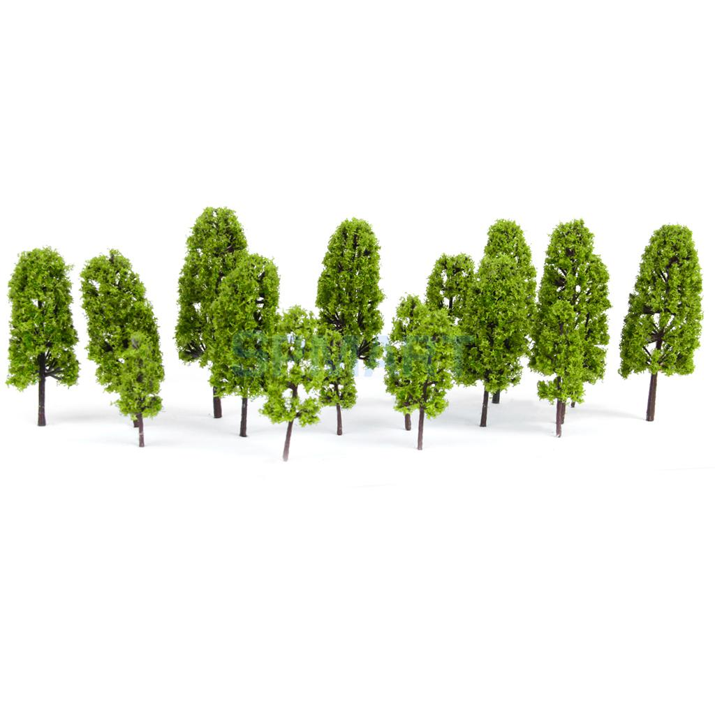 New Arrivals 2015 20pcs HO Scale 4 sizes Model Pine Trees Model Railroad/Diorama Light Green-HOT SALE(China (Mainland))