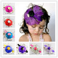 Christmas Gifts Baby feather Headbands Infant Hair Accessories Girls satin rose flower Headband Toddler hairbands