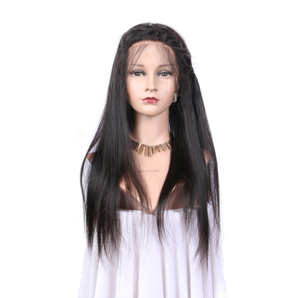 [Luffy] Non Remy Silky Straight Brazilian Human Hair Glueless Full Lace Wigs With 150% Density Can Be Ponytail With Baby Hair