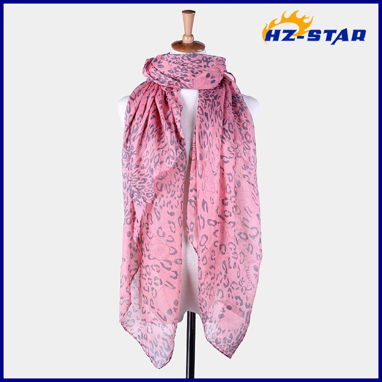 HZW-13582 free shipping 180*90cm china factory wholesale 100 polyester Skull rose printed pink spring modern scarf shawl(China (Mainland))