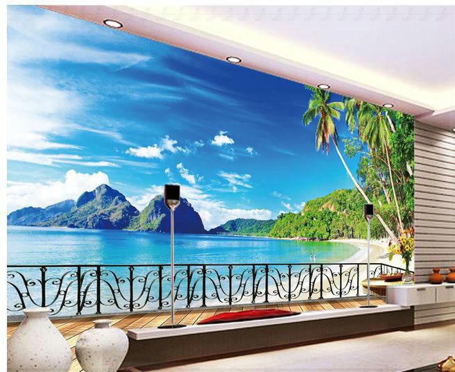 Wallpaper beach balcony tv backdrop scenery wallpaper for Beach wallpaper mural