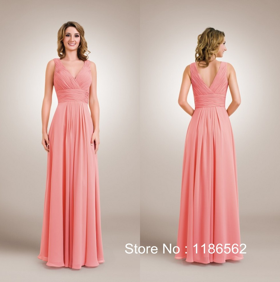 2015 New Arrival A Line V Neck Chiffon Long Party Dress Coral Colored Bridesmaid Dresses In