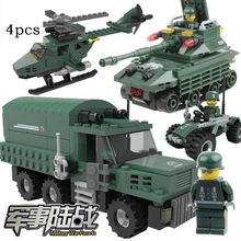 4Pcs/set Gift box Toy building blocks model assembling toys plastic fight boy truck tank army toy vehicle helicopter figure