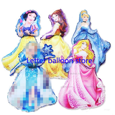 hot93*55cm large Belle Aurora Cinderella Snow White Elsa five princess balloon baby birthday party decoration helium foil ballon(China (Mainland))