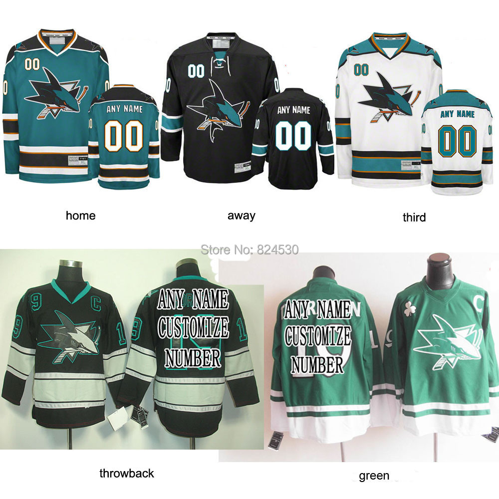 produto Throwback custom/blank San Jose Sharks jersey Home/Away  jersey Embroidery Logo Sewn on Any Name/NO.
