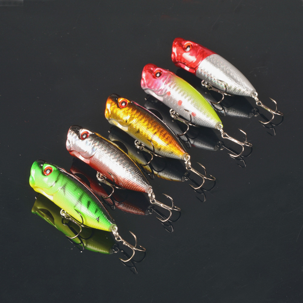 Popper fishing lure hard bait with treble for Fly fishing lures