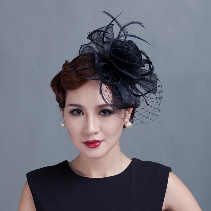 Women Feather Vail Fascinators Handmade Sinamay Fascinator with Veil Women Hair Accessories Black Red Women Flower Fancy(China (Mainland))