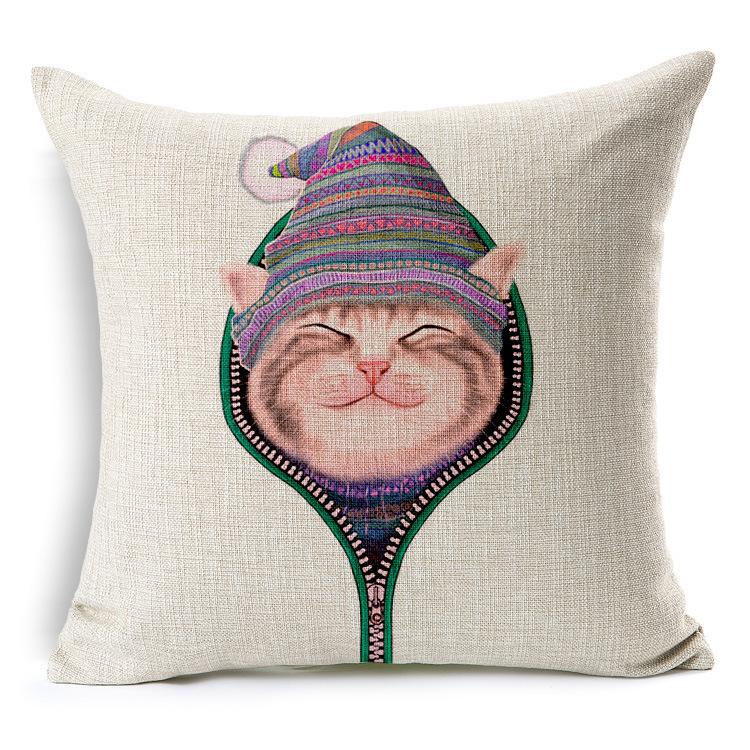 pillow cover Meng Meng of cute cartoon cat hat zipper soft fitted cotton car capa almofada decorativa fundas cojines(China (Mainland))