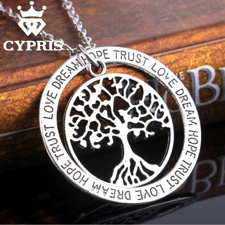 WHOLESALE Silver tree of life life tree pendant necklace totem religion the love apple tree women lady vintage trust hope(China (Mainland))