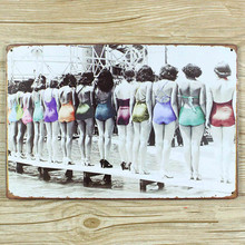 Metal Tin signs bar home coffee wall art decor sexy girl Swimming Pool Retro poster wall sticker 20*30 CM Free shipping YT-00548