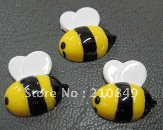 free shipping,Flat Back Kawaii Resin Cabochon Bee ,Flatback Honeybee For Cell Phone DIY Deco ,3 D resins (50pcs)15mm
