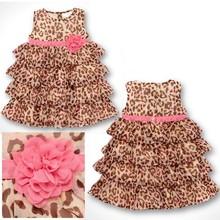 Cake Leopard Dress new fashion cotton baby summer girl princess leopard dresses Hot selling children girl dress free shipping