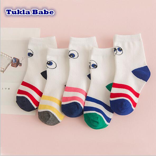 New 2016 Autumn Winter Children Socks Cartoon Stripe Cotton Kids Socks 5 Pairs Pack Free Shipping(China (Mainland))