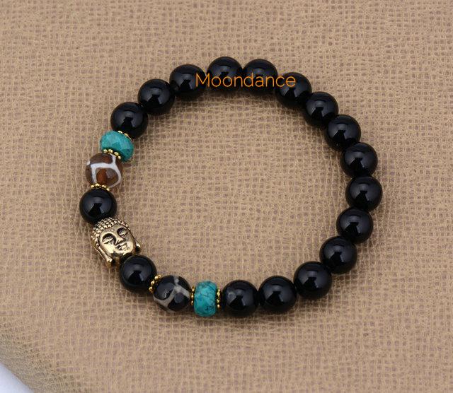 8MM Black Agate With Gold Buddha Beaded Bracelets Elastic Bracelets Stretched Yoga Bangles Bracelets Wholesaler(China (Mainland))