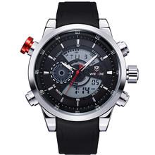 WEIDE militaire hommes chronomètre sportif noir bracelet en cuir synthétique polyuréthane alarme répéteur calendrier étanche Quartz horloge montre-bracelet Relogio Masculino(China)