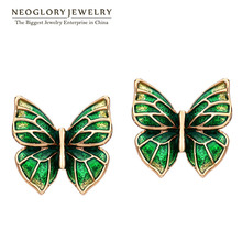Neoglory Enamel Chandelier Big Vintage Bohemian Boho Stud Earrings for Women Fashion Jewelry Butterfly 2016 New ENA1 JS6 But-e(China (Mainland))