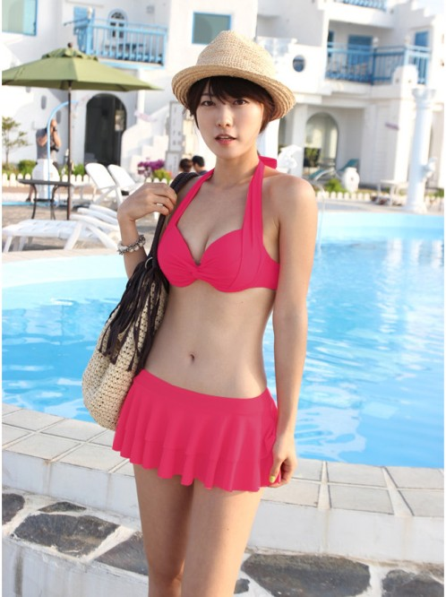 Skirted bikini twinset female swimwear small big steel push swimsuit hot springs - Fashion Line front store
