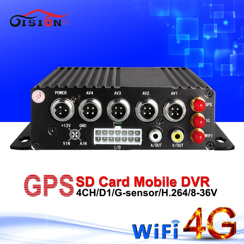 Realtime surveillance 4g network mobile car dvr wifi gps 4ch sd card blackbox mdvr i/o Motion Detection GPS Tracker bus recorder(China (Mainland))