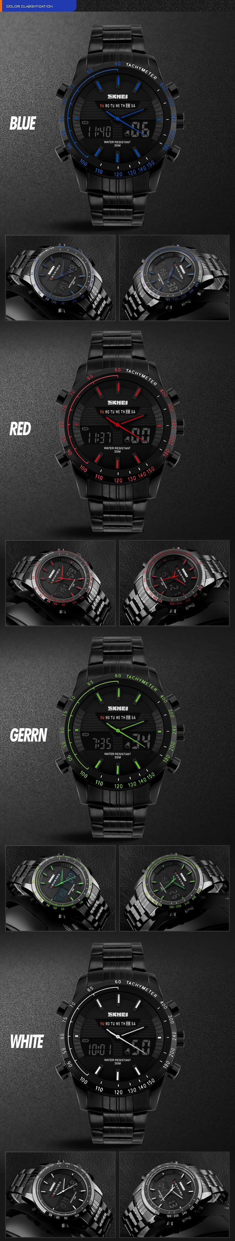 Полный стали Мужчины Спортивные Часы Dual Time Часы Мода Открытый Militay Часы