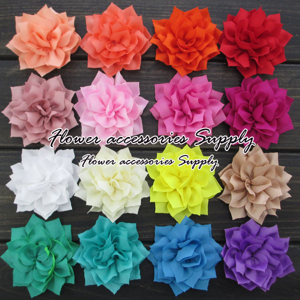 "Free Shipping 80pcs/lot 3"" Kanzashi Fabric Flowers Winter Hair Flower Decoration For Girls Women Hair Accessories Flower Supply(China (Mainland))"