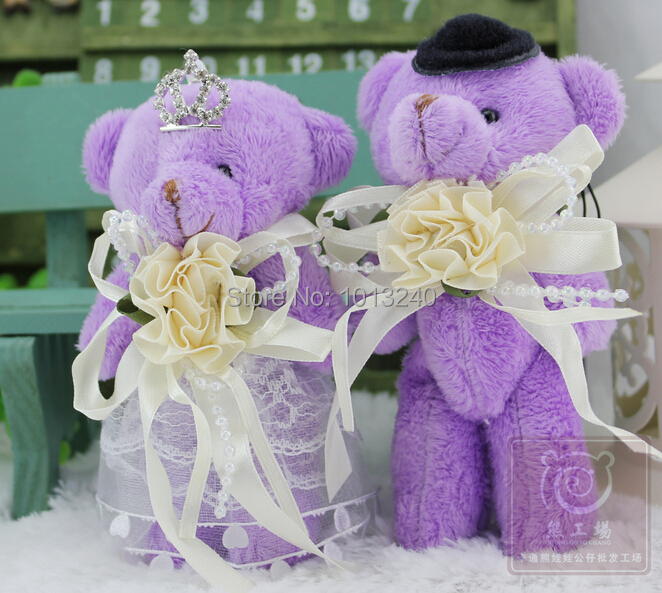 Free shipping 6pairs/lot Wholesale Wedding Gift,Lovers Plush Bear,PP Cotton Filling Couple Wedding Bear with crown(China (Mainland))