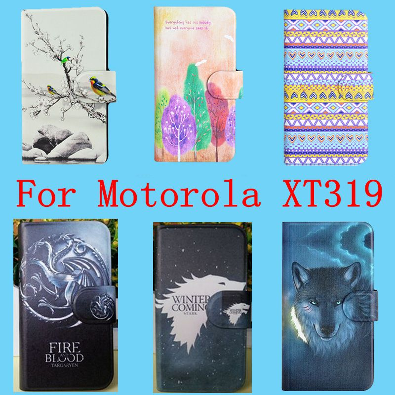 2016 New Hot PU Flip Leather case cover for Motorola XT319 With Card Slot 115 Colors Available Bags(China (Mainland))