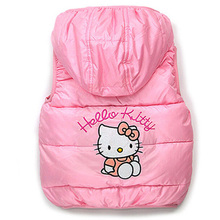 Children Outerwear Baby Girls Leopard Brand Lace Vest hello kitty Clothing Kids Girl s Cartoon Clothes