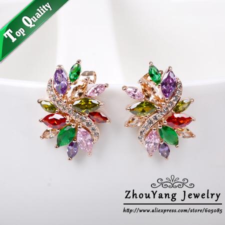 Серьги-гвоздики ZhouYang Jewellery E525 18K ZYE525 кольцо zhouyang jewelry r239 18k zyr239