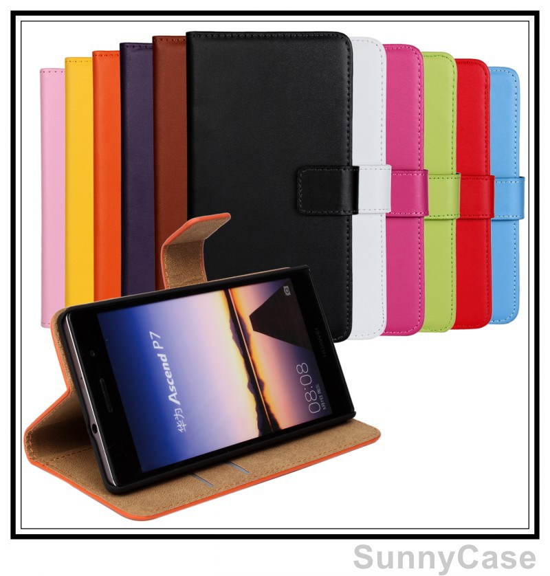 Stand Wallet Flip Real Leather Cover Case Huawei Ascend P7 11 colors - Sunny Cellphone store