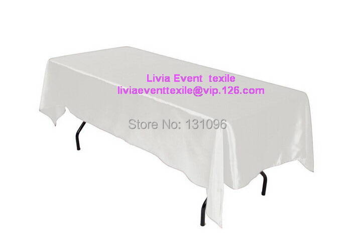 5pcs Quality White Rectangle145cmx304cm Satin Table Cloth,Table Cloths For Wedding Event &Party &Hotel &Resturant Decoration(China (Mainland))