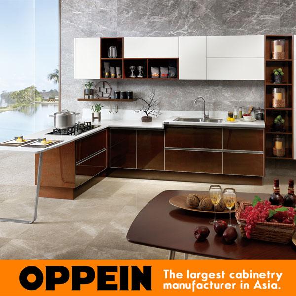 China Manufacture Modern Design Wooden Kitchen Cabinet Door OP15-024(China (Mainland))