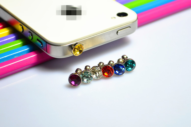 Free Shipping Small Diamond Rhinestone 3.5mm Dust Plug Earphone Plug Luxury Phone Accessories 20 pcs