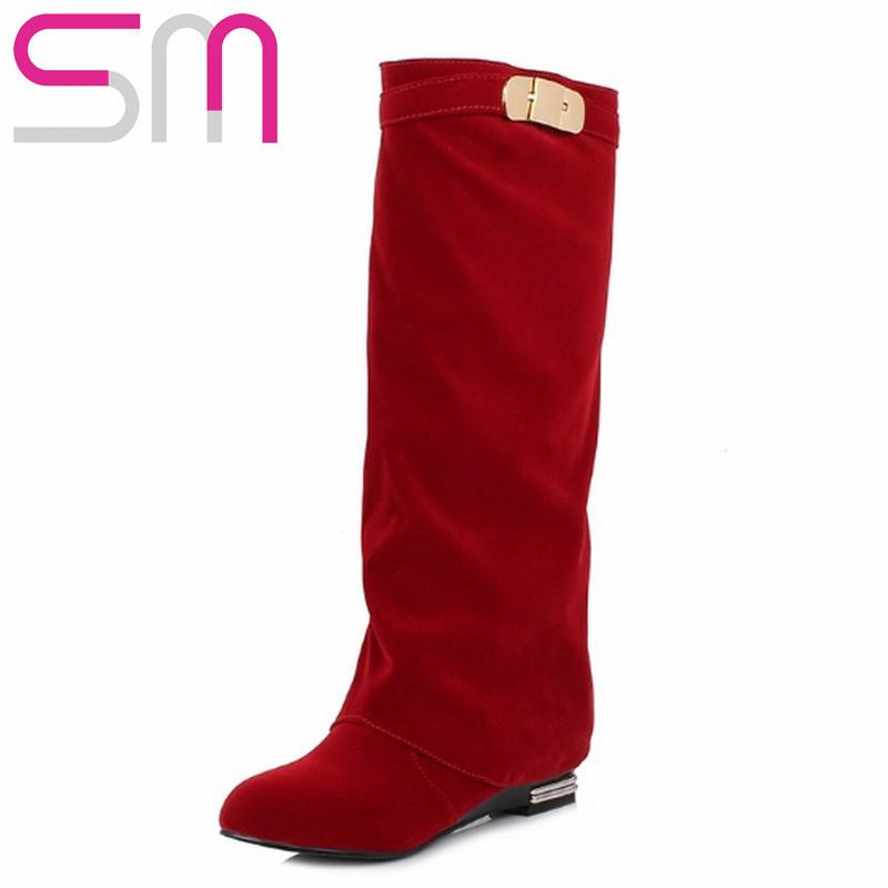 2 Materials 32-43 Fashion Metal Buckle Fur Addible Knight Boots Knee High Boots 2015 Women Boots Autumn Winter Boots Women Shoes<br><br>Aliexpress