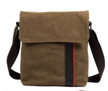 High Quality Fashion Men Simple Brown Canvas Bag Casual Vintage Shoulder Bags Messenger Bag For Man(China (Mainland))