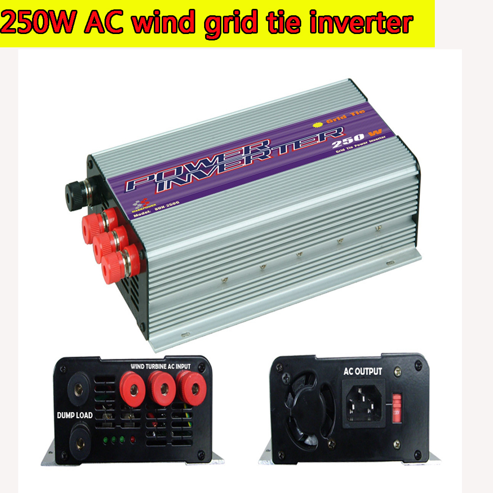 250W Grid Tie Power Inverter for 3 Phase AC Output Wind Turbine MPPT Pure Sine Wave Inverter with Built-in Dump Load Controller(China (Mainland))