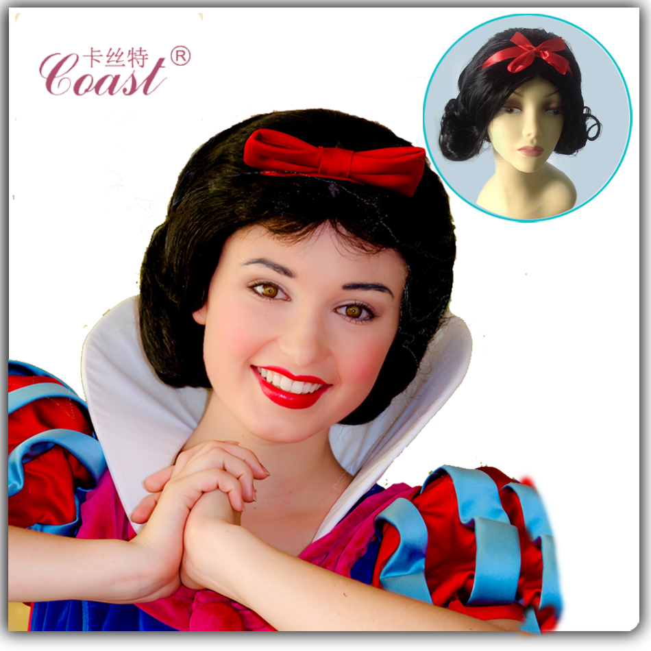 Snow White Princess Cosplay Wig Black Curly Queen Hair Products Princess Short Halloween Costume Wigs Party Women Hair QY-CW001(China (Mainland))