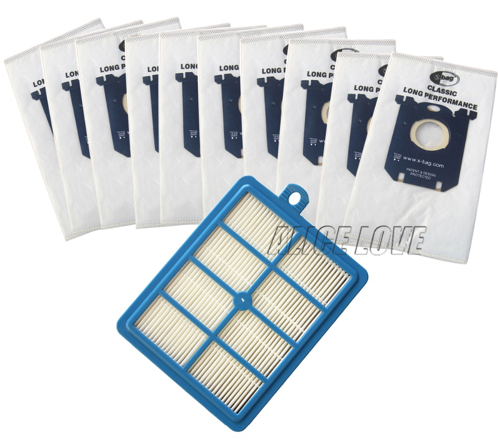 11pcs/set Free Shipping 1 Replacement hepa filter 10pcs Dust Bags for Electrolux Vacuum Cleaner filter electrolux hepa and S-BAG(China (Mainland))