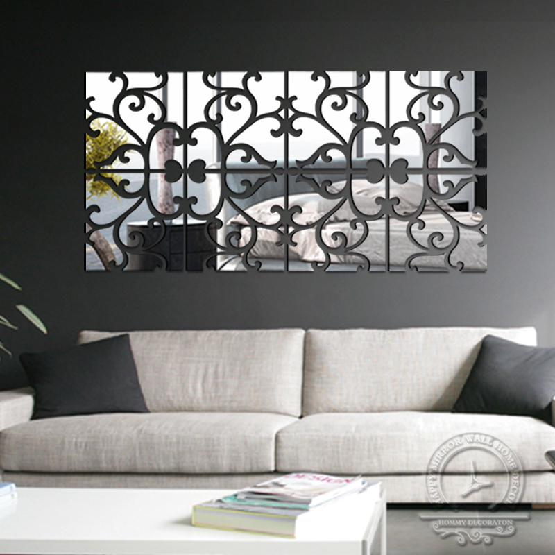 Diy 4lot set 3d home decoration acrylic mirror wall for Mirror wall art