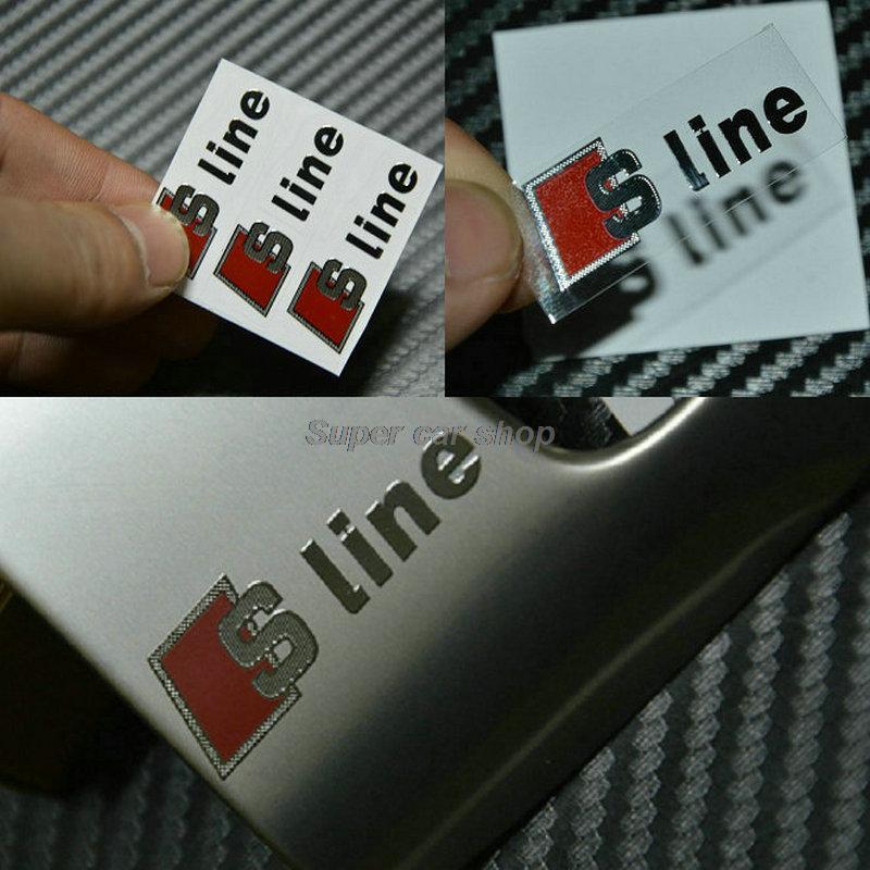 NEW S line logo thin metal sticker car door/window decal emblem 3D sticker for Audi A3 A4 Q3 Q5 A6 Perfect Stickers 3PCS/lot(China (Mainland))