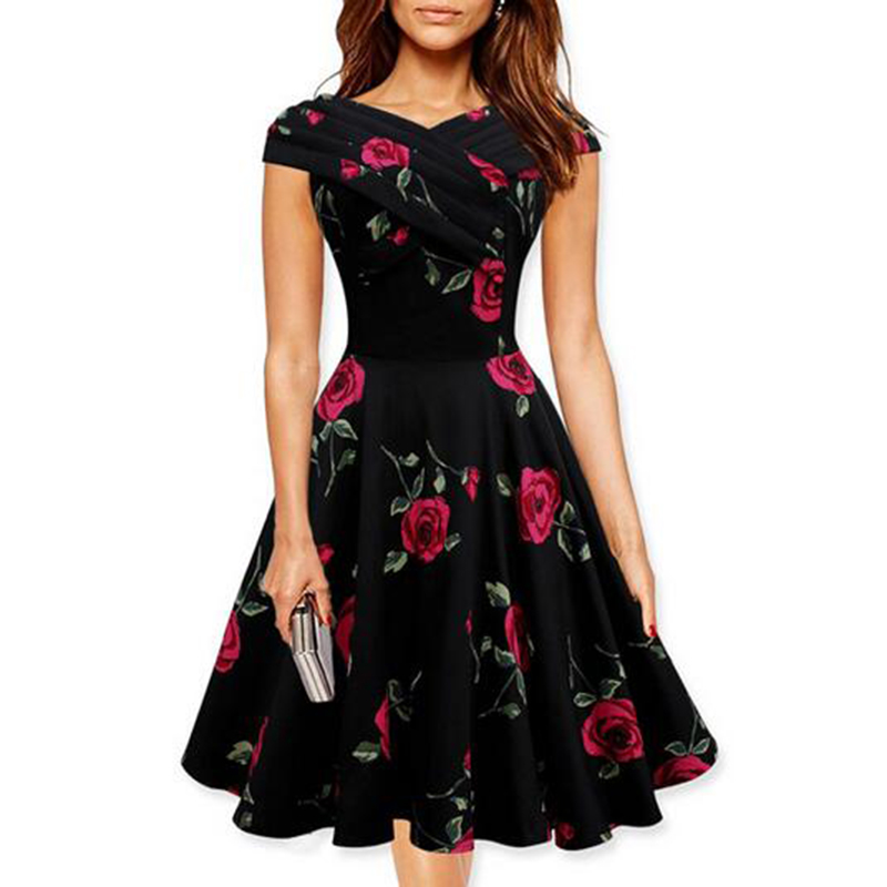 2016 summer dress Women Vintage Rose Floral Print Ruched Elegant Casual Sexy Tunic Wear to Formal Evening Party DressesОдежда и ак�е��уары<br><br><br>Aliexpress